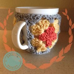 Crochet Granny Square Coffee Mug Cozy in Yellow, Coral, and Grey on Etsy, $8.50