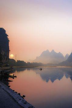 Morning Fishing at Li Riverin Guangxi Zhuang, China