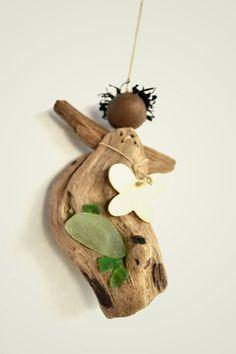 Handmade driftwood angel decorated with sea glass