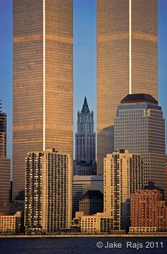 NYC, NY, World Trade Center and Woolworth Building designe… World Trade Center Collapse, World Trade Center Site, Trade Centre, Ground Zero Nyc, New York City, Woolworth Building, Before The Fall, Belle Villa, Vintage New York