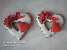 Wedding or Valentines Cookies Valentine's Day Sugar Cookies, Fancy Cookies, Iced Cookies, Biscuit Cookies, Cute Cookies, Heart Cookies, Valentines Day Cakes, Valentine Cookies, Birthday Cookies