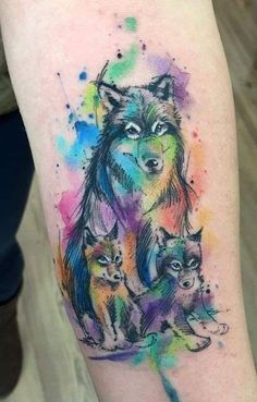 watercolor wolf family tattoo © tattoo artist Javi Wolf wolf tattoo ideas 50 Of The Most Beautiful Wolf Tattoo Designs The Internet Has Ever Seen Wolf Tattoos, Mama Tattoos, Family Tattoos, Animal Tattoos, Body Art Tattoos, Tattoos For Guys, Celtic Tattoos, Verse Tattoos, Wolf Pack Tattoo