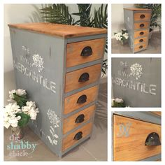 Beautiful apothecary style drawers with village mercantile stencil. Painted in grey chalk paint and white stencilling. Hand painted by the shabby chick