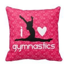 I Heart Gymnastics Floral Pillow