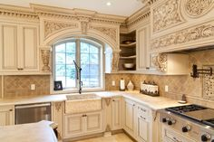 Browse 197 pictures of Ornate Kitchen. Discover concepts and inspiration for Ornate Kitchen so as to add to your individual house. Kitchen Cabinets Drawing, Kitchen Drawing, Custom Kitchen Cabinets, Custom Kitchens, Luxury Kitchens, Home Kitchens, Tuscan Kitchens, Kitchen Backsplash, Shabby Chic Kitchen