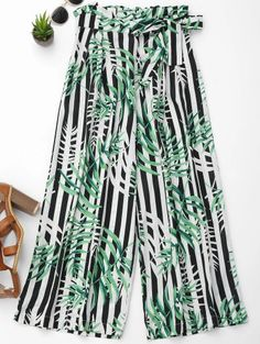 SHARE & Get it FREE | Stripes Leaves Print Wide Leg PantsFor Fashion Lovers only:80,000+ Items • New Arrivals Daily Join Zaful: Get YOUR $50 NOW!