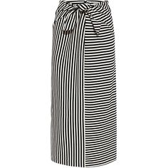 Tibi - Ren Stripe Tie Front Midi Skirt (1,885 CNY) ❤ liked on Polyvore featuring skirts, mid calf skirts, stripe midi skirt, midi skirt, tibi skirt and tie front skirt