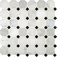 *like this - all marble / no black?* MSI STONE ULC - Greecian White Octagon 2 in. x 2 in. Polished Marble Mesh-mounted Mosaic Floor & Wall Tile - - Home Depot Canada Carrara, Honed Marble, Marble Mosaic, Stone Mosaic, Mosaic Wall, Mosaic Tiles, Wall Tiles, Mosaics, Marble Wall