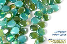 Milky Peridot Celsian Czech Pear-Shaped Drops from Starman Beads
