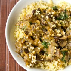 cozy millet bowl with mushroom gravy