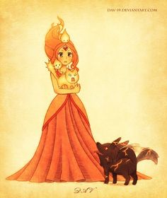 """Flame Princess, Flambo, fire wolf pup and some flambits from """"Adventure Time"""" Flame Princess Marceline, Cartoon Adventure Time, Adventure Time Anime, Time Cartoon, Cartoon Art, Anime Comics, Princesa Flame, Princesse Chewing-gum, Adventure Time Flame Princess"""