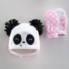 Jumping Beans Panda Fleece Hat & Mittens Set - Baby