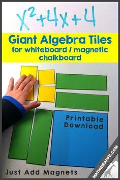Giant Printable Algebra Tiles