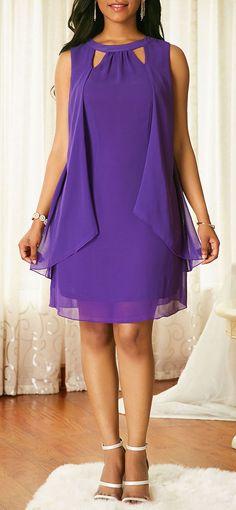 Back Slit Cutout Neck Overlay Chiffon Dress - Women's Fashion Trends Trendy Dresses, Tight Dresses, Women's Fashion Dresses, Sexy Dresses, Casual Dresses, Dress Outfits, Fashion Fashion, Fashion Online, Blue Chiffon Dresses