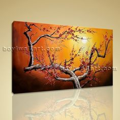 """Large Stretched Canvas Giclee Print Plum Blossom Tree Abstract Landscape Picture Extra Large Wall Art, Gallery Wrapped, by Bo Yi Gallery 36""""x24"""". Large Stretched Canvas Giclee Print Plum Blossom Tree Abstract Landscape Picture Subject : Tree Style : Contemporary Panels : 1 Detail Size : 36""""x24""""x1 Overall Size : 36""""x24"""" = 91cm x 61cm Medium : Giclee Print On Canvas Condition : Brand New Frames : Gallery wrapped [FEATURES] Lightweight and easy to hang. High revolution giclee..."""