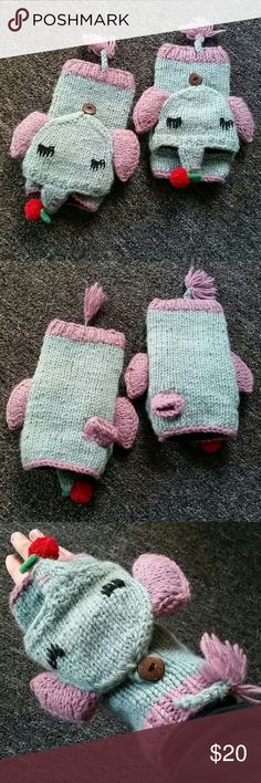 Elephant Fingerless Gloves Perfect condition, never used, no stains, rips or signs of wear. Thick and warm fleece lined gloves. Mexicali Blues Accessories Gloves & Mittens
