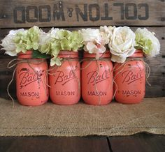 Mason Jars, Ball jars, Painted Mason Jars, Flower Vases, Rustic Wedding Centerpieces, Dark Coral Mason Jars