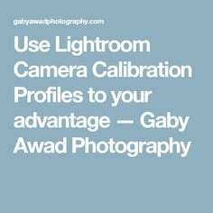 Use Lightroom Camera Calibration Profiles to your advantage — Gaby Awad Photography