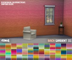 """ohmysims404: """"3 sets of brick wallpaper • Works with all wall heights • § 4, can be found under Masonry Note: I recognize that the solid color set duplicates some existing ones, but decided to put everything up for download. I made 'my version'..."""