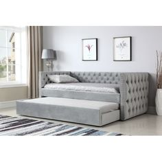 Emerald Home Furniture Paige Upholstered Daybed With Trundle Trundle Mattress, Furniture, Emerald Home Furnishings, Daybed Room, Bedroom Furniture, Daybed With Trundle, Home Furniture, Full Daybed With Trundle, Bed Furniture