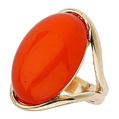 Orange Stone Dome Ring ($7) ❤ liked on Polyvore