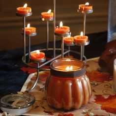 Pumpkin Apple Cider Large Pumpkin Jar and Majestic Hearth Hurricane Tealight Stand. I love my pumpkin jar in Leaves of Fun! Old Candle Jars, Candles, Large Pumpkin, Jonathan Adler, Fall Harvest, Fine Dining, Hearth, Apple Cider, Spice Things Up