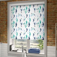 Splash Seahorses Marine Roller Blind from Blinds Wooden Window Blinds, Faux Wood Blinds, Bamboo Blinds, Blue Roller Blinds, Waterproof Blinds, Graber Blinds, Honeycomb Blinds, Cheap Blinds, House Blinds