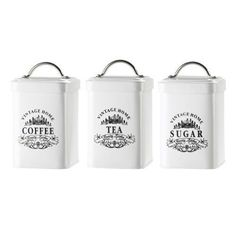Amici Vintage Home Metal Jar - Set of 3, New, Free Shipping