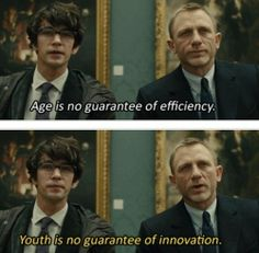 James Bond (Daniel Craig) meets the new Q (Ben Whishaw) in Skyfall. My favourite quote from Skyfall. Craig Bond, Daniel Craig James Bond, Ben Whishaw, Rachel Weisz, Superwholock, James Bond Quotes, Downton Abbey, Sherlock, Candice Renoir