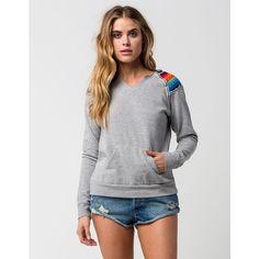 Rip Curl Lolita Womens Sweatshirt ($54) ❤ liked on Polyvore featuring tops, hoodies, sweatshirts, heather gray, summer tops, cut-off, cut off sweatshirt, long sweatshirt and fleece lined sweatshirt
