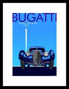 bugatti art deco poster homage flush to edge lettering bold contrasts