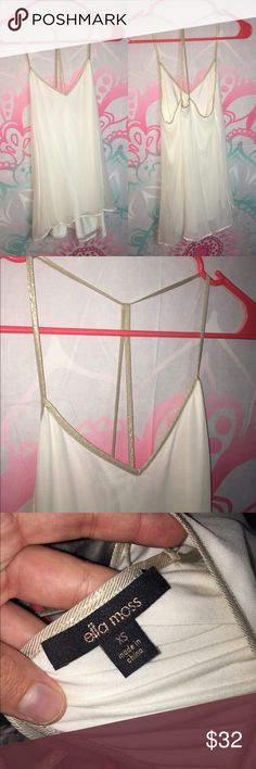 Ella Moss tank White Ella Moss top with shimmery gold strappy back, brand new without tags, never worn, size XS, slight V-neck Ella Moss Tops Tank Tops