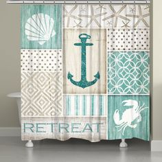 """The Laural Home Coastal Retreat Shower Curtain offers a collage of coastal-themed images, patterns and the word """"Retreat"""" to create a relaxing, serene environment in your bathroom. This polyester curtain features spa tones and can be personalized. Coastal Bathrooms, Beach Bathrooms, Coastal Living Rooms, Budget Bathroom, Bathroom Ideas, Bathroom Spa, Small Bathrooms, Bathroom Cabinets, Bathroom Remodeling"""