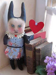 my weird little rabbit art doll [ in my shop ]....[ sold ]  .... original art copyright protected by the artist Sandy Mastroni