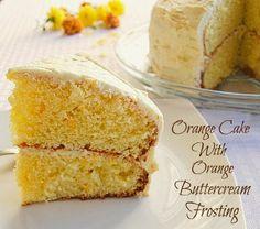 Delicious Orange Cake With Orange Buttercream Frosting via @Mary Bostow