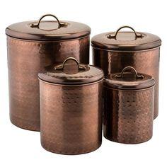 Old Dutch 4-piece Hammered Antique Copper Canister Set (4 Piece Hammered Antique Copper Canister Set), Brown