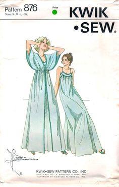 Kwik Sew 876 1970s  Misses Kimono Sleeve Peignoir and Ankle Length Nighgown vintage sewing pattern by mbchills Motif Vintage, Vintage Dress Patterns, Lingerie Patterns, Clothing Patterns, Sewing Clothes, Diy Clothes, Ladies Clothes, Nightgown Pattern, Patron Vintage