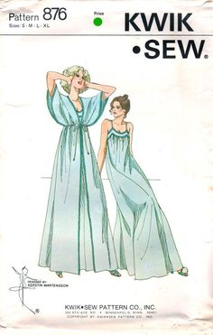 Kwik Sew 876 1970s Misses Kimono Sleeve Peignoir and Ankle Length Nighgown vintage sewing pattern by mbchills