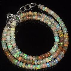 """27 Ctw 1Necklace 3to3 mm 15""""Beads Natural Genuine Ethiopian Welo Fire Opal S1113"""