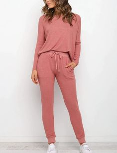 Batwing Long Sleeve Pullover Sweater With Long Pencli Pants Outfits - Power Day Sale#newin #newarrivals #justdropped #newseason #fashionintrend Ootd Fashion, Fashion Outfits, Fashion Styles, Two Piece Outfit, Spandex Material, Pants Outfit, Sleeve Styles, Pullover Sweaters, Clothes For Women