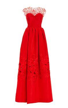 Illusion Neck Floral Threadwork Embroidered Gown by Oscar de la Renta for Preorder on Moda Operandi
