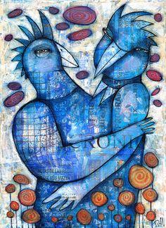 BLUE LOVE by Dan Casado by Dan Casado  acrylic and collage on wood
