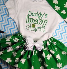 St. Patrick's Day Baby Girls Outfit Short by EmbroiderybySharon, $26.00