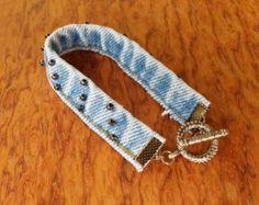 Items similar to Denim bangle bracelet, upcycled jeans, recycled jeans, denim jewelry, vintage denim jewelry on Etsy
