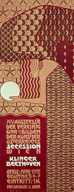 Alfred Roller, poster for the fourteenth Vienna Secession exhibition, 1902. Dense geometric patterns animate the space.