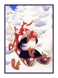 Rudolf Koivu - so traditional, love this! Vintage Christmas Cards, Xmas Cards, Christmas Greetings, Vintage Cards, Christmas Gnome, Christmas Crafts, Illustrations, Illustration Art, Baumgarten