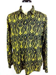 Burberry Mens London Yellow Flower Print Button Up Cotton Dress Shirt L Nice | eBay