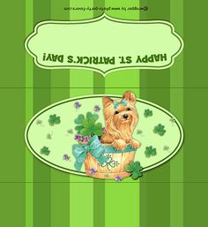 Free Printable St. Patrick's Day Candy Bar Wrapper, features a yorkie puppy surrounded by shamrocks, ready to personalize with your message on back.