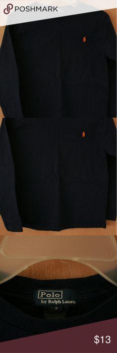 Ralph Lauren Long Sleeve Shirt Size 7 for boys. Great condition. Navy blue Ralph Lauren Shirts & Tops Tees - Long Sleeve