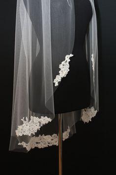 Alencon Lace Applique Veil, Couture Patch Lace Veil, Fingertip lace veil, Ivory lace veil, floral lace veil, bridal veil, raw edge veil. by CoutureBrideBoutique on Etsy